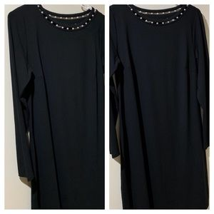 J Jill Black Dress with Pearl Neckline